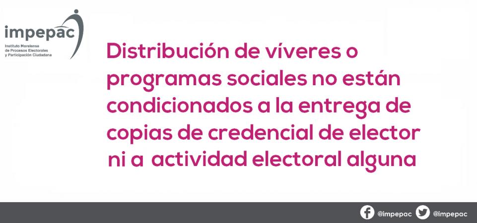 DISTRIBUCIÓN DE VÍVERES O PROGRAMAS SOCIALES NO ESTÁN CONDICIONADOS A...
