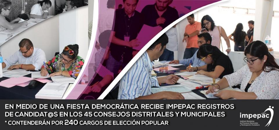 EN MEDIO DE UNA FIESTA DEMOCRÁTICA RECIBE IMPEPAC REGISTROS DE CANDIDAT@S...