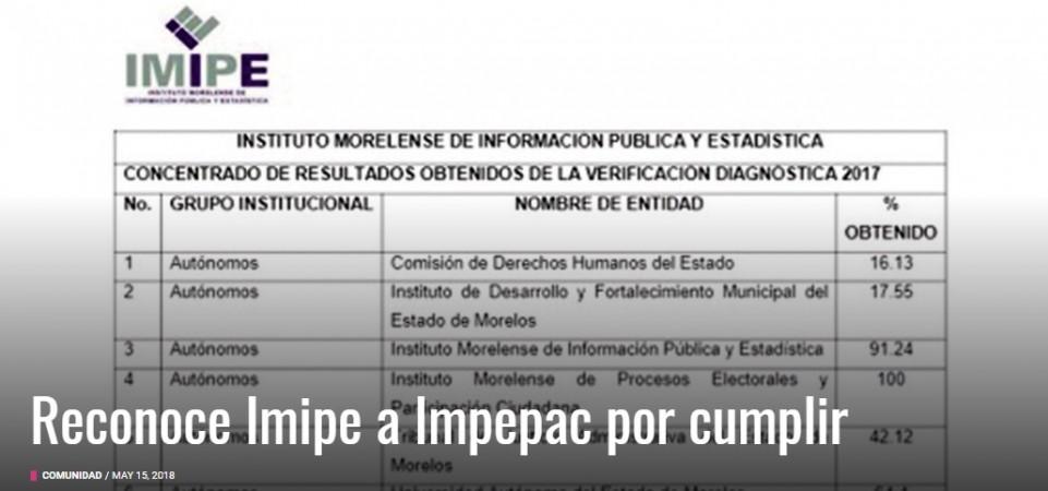 Reconoce IMIPE a IMPEPAC por 100% de Cumplimiento en Transparencia
