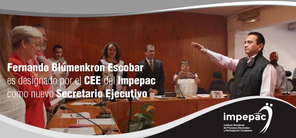 Fernando Blumenkron Escobar es designado por el  CEE del Impepac como...