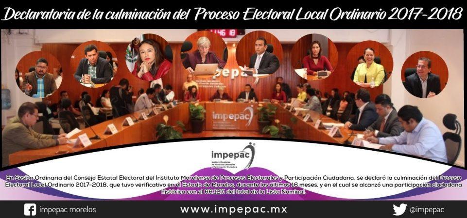 Declaratoria de la culminación del Proceso Electoral Local Ordinario...