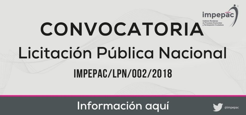 LICITACIÓN IMPEPAC/LPN/002/2018