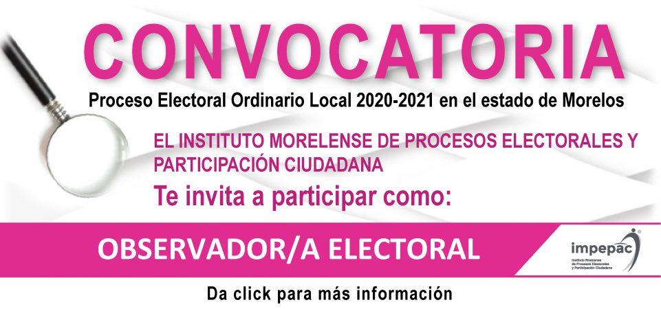 Convocatoria para participar como observador/a electoral en el proceso...