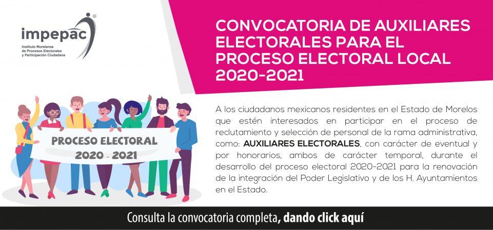 Convocatoria para auxiliares electorales para el Proceso Electoral Local...